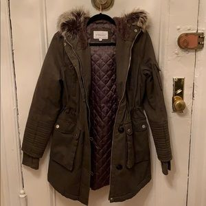 BCBGeneration Army Green Parka/Coat with Faux Fur